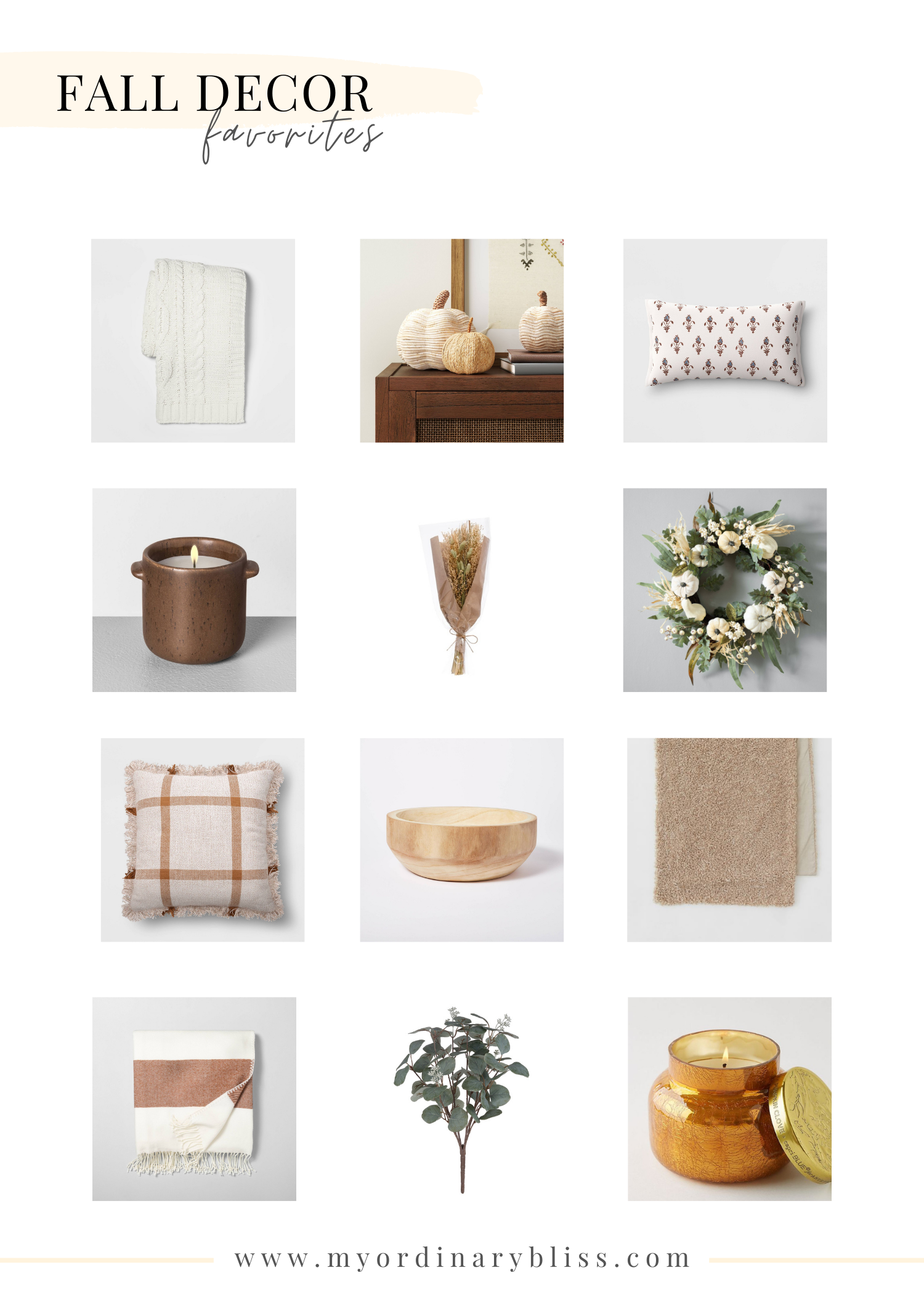 Favorite Affordable Fall Home Decor My Ordinary Bliss